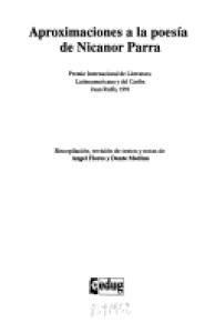 Aproximaciones a la poesía de Nicanor Parra : Premio Internacional de Literatura Latinoamericana y del Caribe Juan Rulfo, 1991