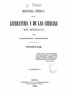 Historia crítica de la literatura y de las ciencias en México : poetas