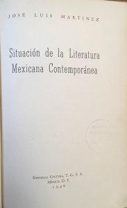 Situación de la literatura mexicana contemporánea