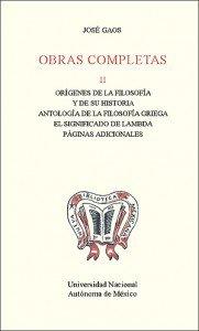 Obras completas II. Orígenes de la filosofía y de su historia. Antología de la filosofía griega. El significado de Lambda. Páginas adicionales