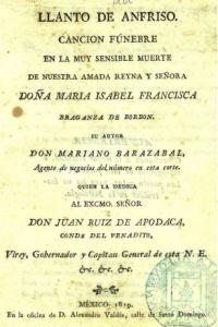 Llanto de Anfriso : canción fúnebre en la muy sensible muerte de nuestra amada reyna y señora Doña María Isabel Francisca Braganza de Borbón