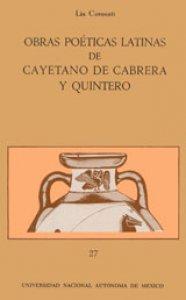 Obras poéticas latinas de Cayetano de Cabrera y Quintero. Catálogo