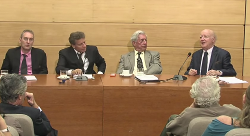 Mario Vargas Llosa y Jorge Edwards en el CEP. Con Christopher Domíneguez Michael, Sonia Montecino y Arturo Fontaine