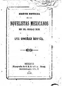 Breve noticia de los novelistas mexicanos en el siglo XIX
