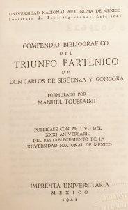 Compendio bibliográfico del triunfo parténico de Don Carlos de Sigüenza y Góngora