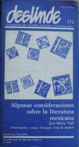 Algunas consideraciones sobre la literatura mexicana